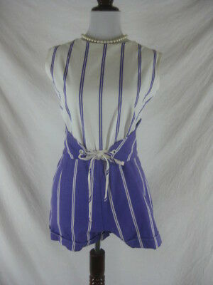 Vtg 50s 60s Purple White Womens Vintage Cotton Striped Shorts Outfit