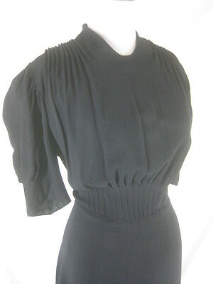 Vtg 40s 50s Black Crepe Womens Vintage Cocktail Evening Party Dress W 34