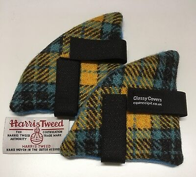 Yellow/Blue HARRIS TWEED Riding Hat Ear Muffs Turquoise Fleece *Great gifts*