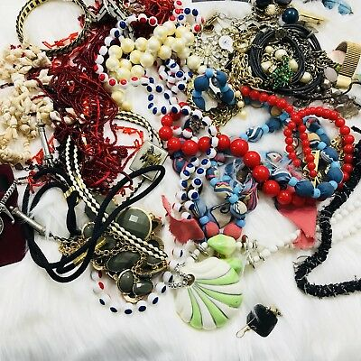 Junk Drawer Lot Of 2 Bags 3.93 Lbs Vintage Now & Costume Jewelry Beads Metal Etc