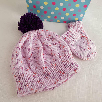 Hand Knitted Baby Hat & Mittens 0-3 Month Girls Warm Winter Handmade Hat & Mitts