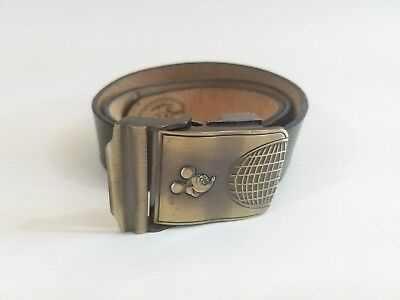 """Mickey Mouse Epcot Belt Buckle (Fits up to 36"""") Adjustable Black Leather Disney"""