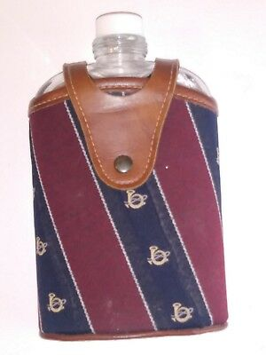 """Vintage Glass & Metal Flask with Leather Cowhide Flask Cover 7.5"""" Tall"""