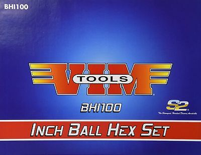 "Vim Tools BHI100 SAE 7"" Long T-Handle Ball and Hex Bit Set - 10 Piece"