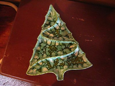 VTG large mid Century Atlantic mold Christmas Tree Divided Serving Tray Candy