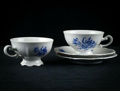 Mitterteich Meissen Blue Cups & Saucers 2 Sets, Bavaria Germany Porcelain Floral