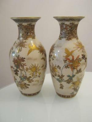 Stunning Large Signed Pair Of Antique Japanese Meiji Period Satsuma Vases