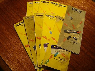 10-Vintage Richfield Road Maps  Great Color Awesome Graphics