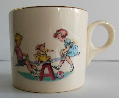 Antique Childs Ceramic Mug Cup Children Seesaw Gold Trim Teeter Totter Play