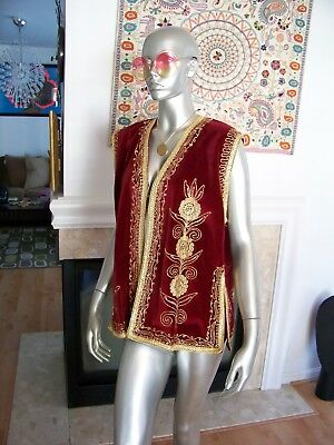 Vtg Rare HIPPIE Boho FESTIVAL Gold Embroidered INDIA Woodstock HENDRIX Vest!!!