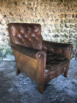 Antique Buttoned Leather Club Arm Chair - Vintage Library