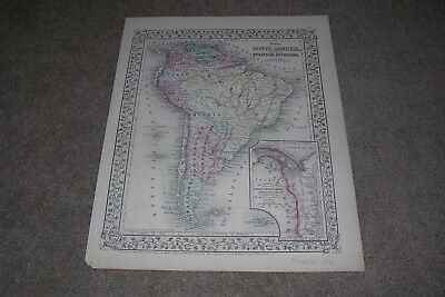 c.1871 South America Map Antique Map by Mitchell
