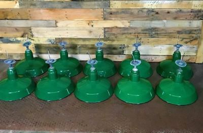 "Lot of 10 Vintage 16"" Abolite Green Porcelain Enamel Barn Light Fixtures"