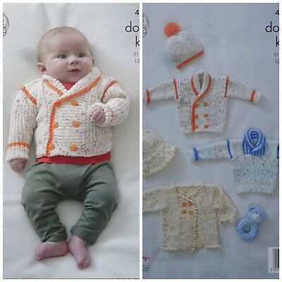 KNITTING PATTERN Baby's Jacket Hats Jumper and Coat Smarty DK King Cole 4876