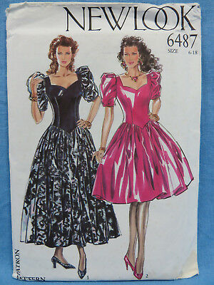 Vintage 80's New Look 6487 Party Dress Gown  Pattern 6-18 Uncut