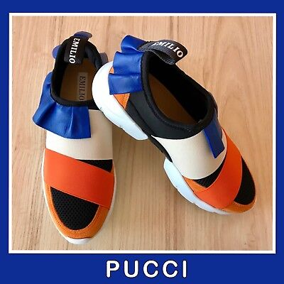 Emilio Pucci Orange Blue Tan Black Slip On Sneakers Blue Leather Trim 38 NEW