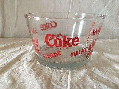 Vintage Coca Cola Glass Bowl Snacks Candy Munchies Goodies Large Nibbles Coke