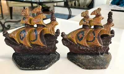 Pair of Antique Cast Iron Sailing Ship Red Cross Galleon Sail Boat Door Stop (2)