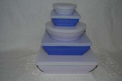 Tupperware 5 pc Square Round Get it Together Blue Serving Bowls with Lids NEW