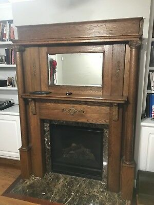 Antique American Golden Oak Fireplace Mantle in Very Good Condition