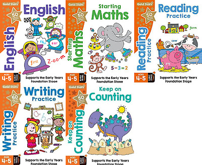 Foundation Learning 5 Book Set, Maths, English, Counting, Writing Etc Gold Stars