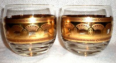 RETRO VINTAGE Cursive Signed Pair Culver Festival Gold Wheat Roly Poly Glasses