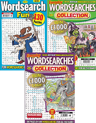 Wordsearch Books - 3 Book set - 370 Puzzles - New  (Set 145)