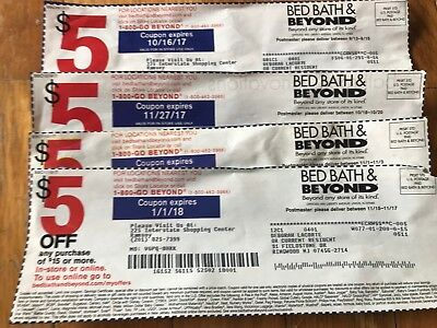 Lot of 4 Bed Bath and Beyond $5 Off $15.00 Purchase Coupons