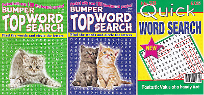 Wordsearch Books - 3 Book set - 281 Puzzles - New  (Set 151)