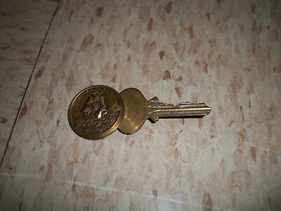 1950s Brass Hotel Key and Fob from The Mayflower Washington DC Room 410