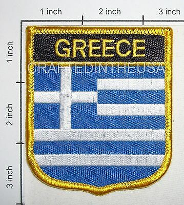 Greece Flag Shield Embroidered Patch Sew Iron On Biker Vest Applique Emblem New