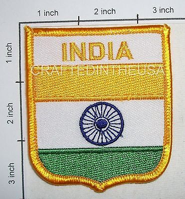 India Flag Shield Embroidered Patch Sew Iron On Biker Vest Applique Emblem New