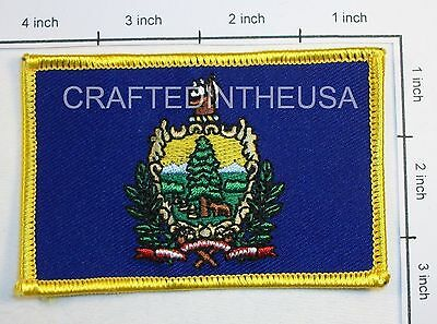 Vermont State Flag Embroidered Patch Sew Iron On Biker Vest Applique Emblem New