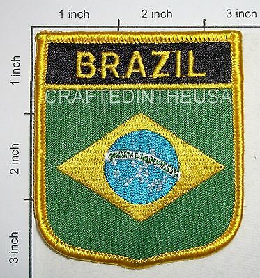 Brazil Flag Shield Embroidered Patch Sew Iron On Biker Vest Applique Emblem New