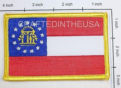 Georgia State Flag Embroidered Patch Sew Iron On Biker Vest Applique Emblem New