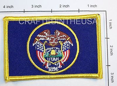 Utah State Flag Embroidered Patch Sew Iron On Biker Vest Applique Emblem New