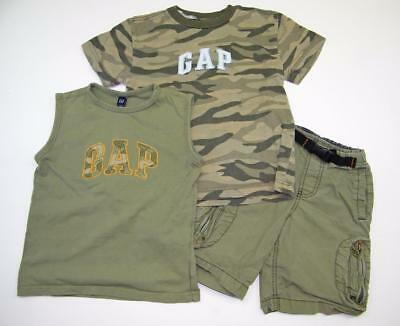 Boys Sz 4 5 Summer 3pc GAP Outfit Logo Tank Top Camo Shirt Cargo Shorts