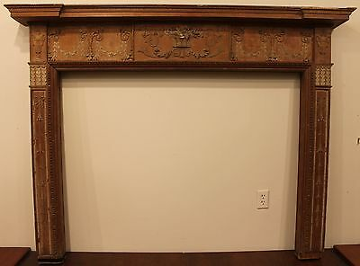18th Century Adams Fireplace Mantel Carved Wood Basket, Urns, Floral Swags Etc.