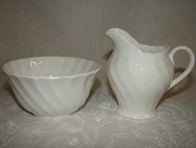 Vintage Royal Tuscan  ENGLAND Whitecliffe Pattern Open Sugar and Creamer