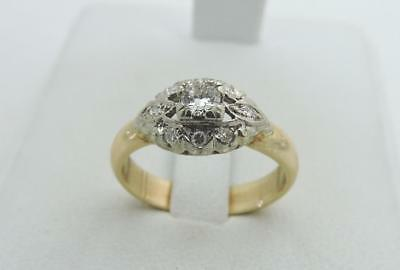 ANTIQUE ART DECO 14K Yellow Gold Genuine Diamond Ring Unique Vintage Size 7.5