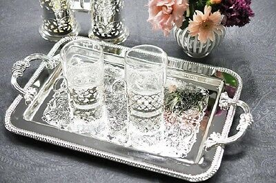 Queen Anne Silver Plated Rectangular Tray/Cast Handles- SALE