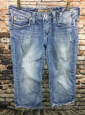 Big Star Women's Distressed Capris Denim Jeans Size 29 Sweet Ultra-Low Rise Crop