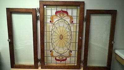 NO RESERVE (1) Stained Leaded Beveled Glass wood Fr Door(2)Beveled/Clear 1950's