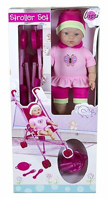 """Brand New Lissi Umbrella Stroller Set with 16"""" Doll Role Play Toy"""