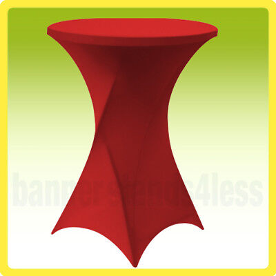 "30"" SPANDEX Cocktail Bar Table Cover Round Tablecloth Stretch Lycra - RED"