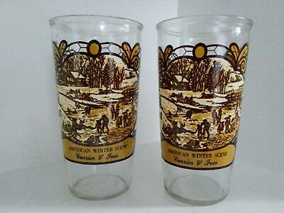 Vintage Currier & Ives Collectible Drinking Glass 12 oz - American Winter Scene