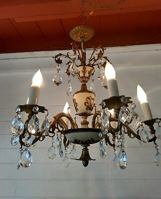 Antique Vintage Spanish Ornate Brass 6 arm Chandelier Hanging Light Fixture