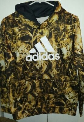 Adidas hoodie -yellow and black flames Size Youth Large- 14/16