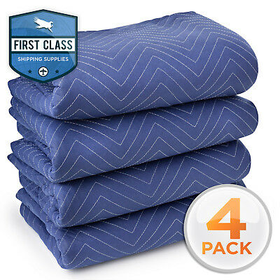 """4 Moving Blankets 80"""" x 72"""" (40 lb/dz) Pro Quilted Shipping Furniture Pad Bl/Blk"""