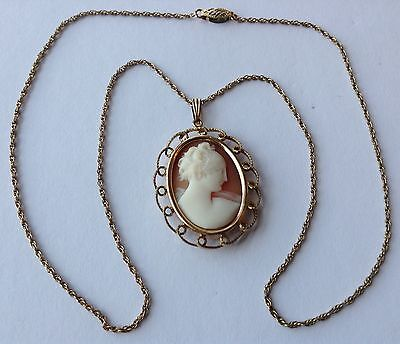 Vintage Art Deco 12K Gold Filled Shell Cameo Pendant Necklace Q3
